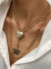 Butterfly Heart Pendant Layered Chain Necklace