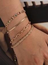 Twist Chain Colorful Rhinestone Bracelet Set