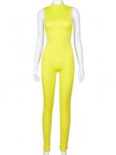 Mock Neck Stacked Bottom Sleeveless Bodycon Jumpsuit