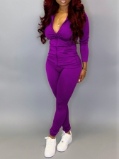 Solid Color Hooded Fitted Womens Tracksuits
