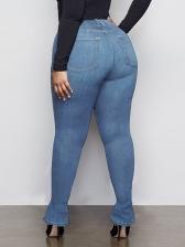 Split Hem Fitted High Rise Plus Size Jeans