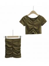 Summer Solid Pleated High Waist Skirt Set
