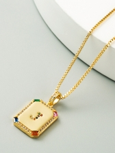 Square Hip Hop Cu Zircon Necklace