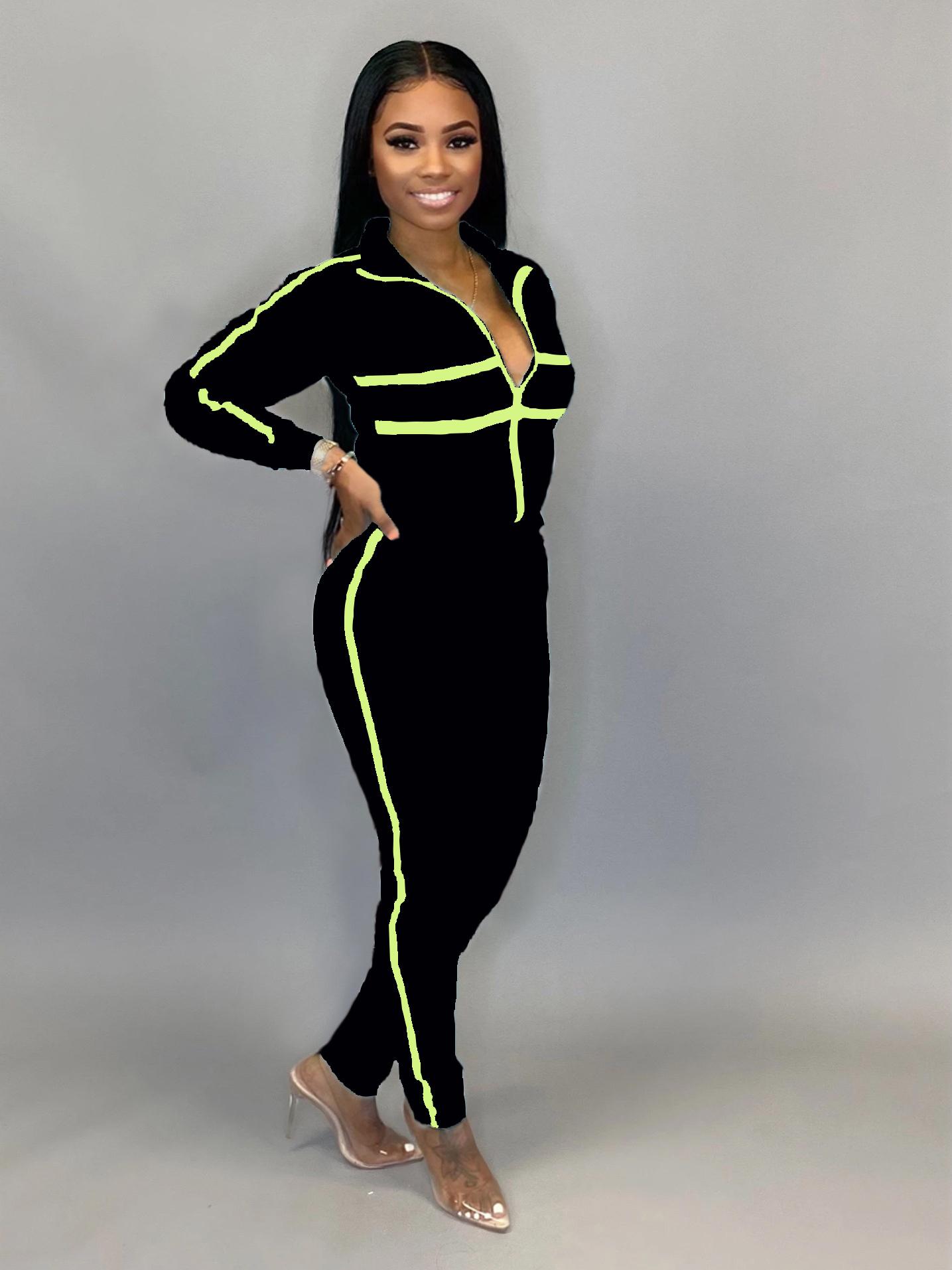 Contrast Color Long Sleeve Zipper Up Tracksuit Set