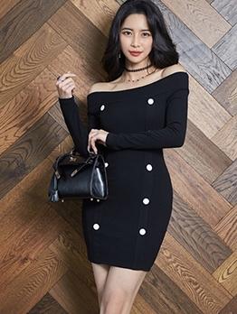 Elegant Double-Breasted Off Shoulder Long Sleeve Dress