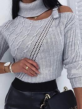 Solid Color Long Sleeve Irregular Turtleneck Sweater