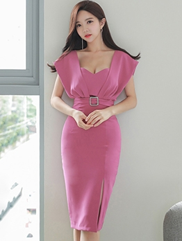Fashion Side Slit Short Sleeve Bodycon Dress