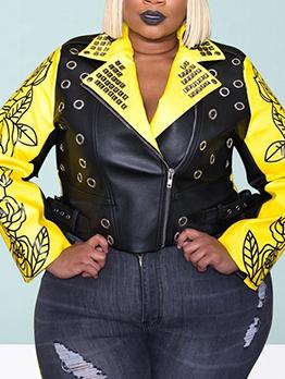 Color Patchwork Letter Punk Style Plus Size Jacket