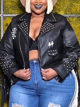 Tassel Printed Rivets Plus Size Black Jacket