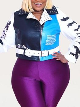Contrast Color Rivets Plus Size Women Jacket