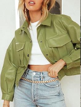 Stylish Solid Pockets Long Sleeve Ladies Jacket