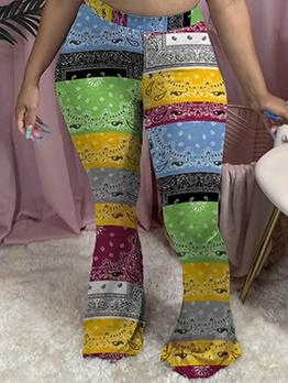 Color Block Printed Skinny Flare Pants