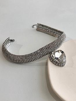 Fashion Rhinestone Heart Choker Necklace