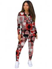 Poker Print Long Sleeve Two Piece Women Sets