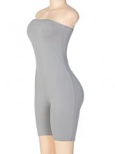 Plain Solid Color Skinny Strapless Romper