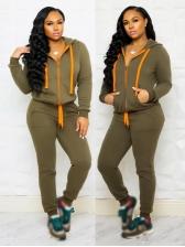 Hooded Side Pockets Autumn 2 Piece Pants Set