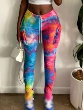 Colorful Tie Dye Two Pockets Skinny Pants