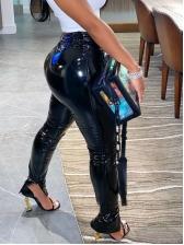 Split Hem Skinny Specular Leather Pants