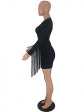 Crew Neck Tassel Long Sleeve Bodycon Dress