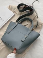 Pure Color Simple Women Large Shoulder Bag