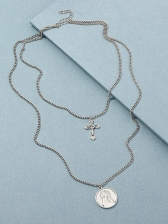 Alloy Material Cross Portrait Pendant Layered Necklace