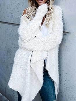Simple Irregular Hem Long Coat Women