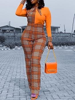 Fashion Plaid Women Long Sleeve Jumpsuit