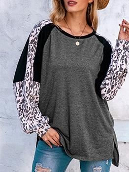 Crew Neck Leopard Patchwork t Shirts For Women
