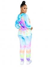 Bright Color Tie Dye Hooded 2 Piece Pants Set