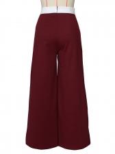 Contrast Color Full Length Wide Leg Pants