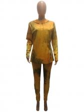 Yellow Tie Dye Hooded Collar Plus Size Set