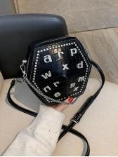 Polygon Rhinestone Letter Black Shoulder Bags