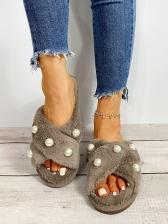 Chic Faux Pearl Decor Designer Slippers