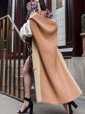 Fashion Color Block Women Long Cardigan