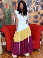 Pure Linen Fabric Contrast Color Maxi Dresses