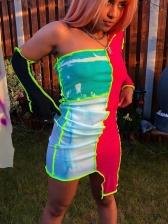 Reverse Side Contrast Color One Shoulder Dress