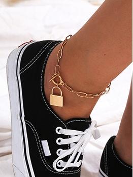 Creative Street Snap Fashion Lock Anklets