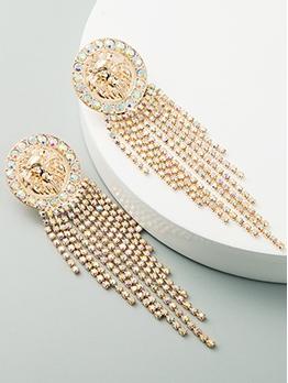 Baroque Style Rhinestone Evening Tassel Earrings
