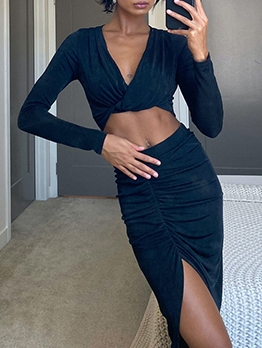 Sexy Black Cropped Slit Two Piece Skirt Set