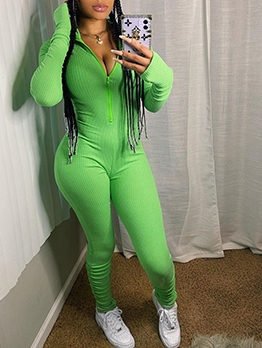 Sporty Solid Long Sleeve Ladies Jumpsuits