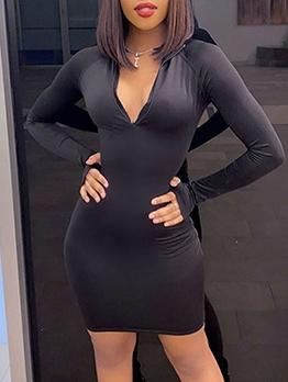 Solid Skinny Casual Long Sleeve Dress