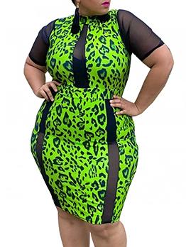 Gauze Sleeve Patchwork Printed Plus Size Dresses