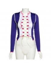 Fashion Color Block Bandage Women Blouse