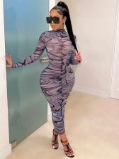 Sexy Printed Printed Long Sleeve Bodycon Dress