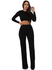 Casual Solid Long Sleeve Two Piece Outfits
