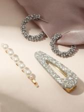 Faux-Pearl Rhinestone Three Pieces Accessories Set
