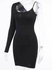 Square Neck One Sleeve Fitted Black Dresses