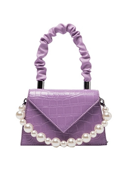 Draped Handle Faux Pearls Solid Ladies Handbags