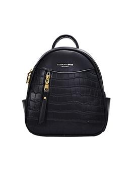 Double Zipper Stone Grain Women Small Backpack