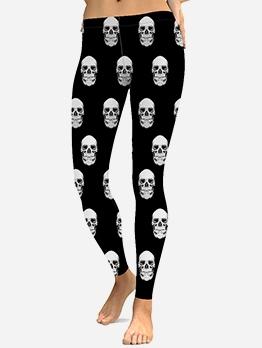 Skull Print Mid Waist Black Women Leggings